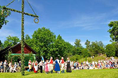 Folklore ensemble of Sweden in midsummer celebration.